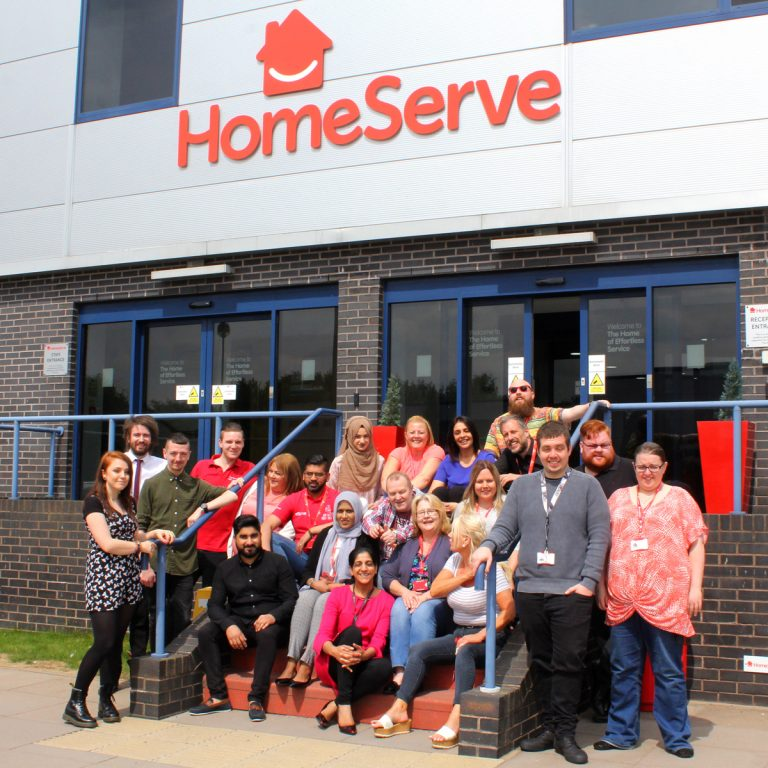 Staff at HomeServe UK in a group outside their head office in Walsall