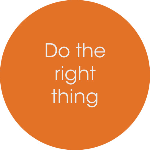 Text on a circle says Do the right thing